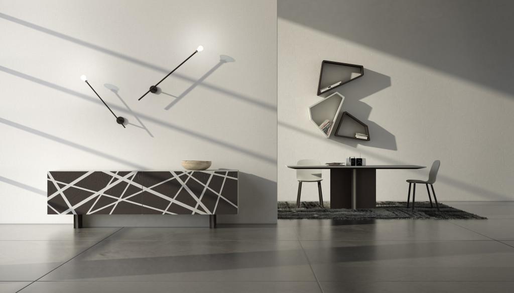 credenza moderna e di design con rivestimento in cemento