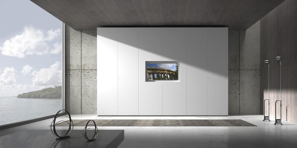Armadio con TV Loft con kit TV, 6 ante battenti, laccato opaco bianco.