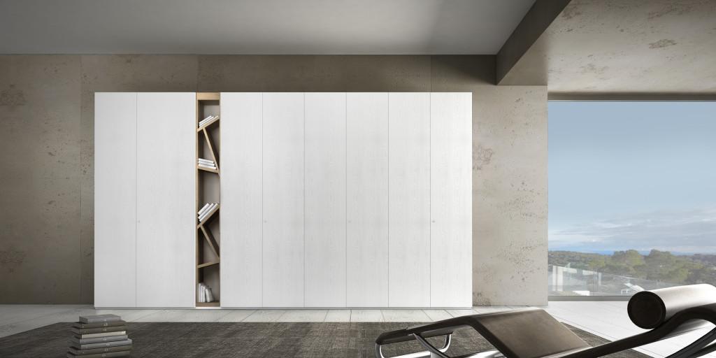 armadio moderno di design con libreria