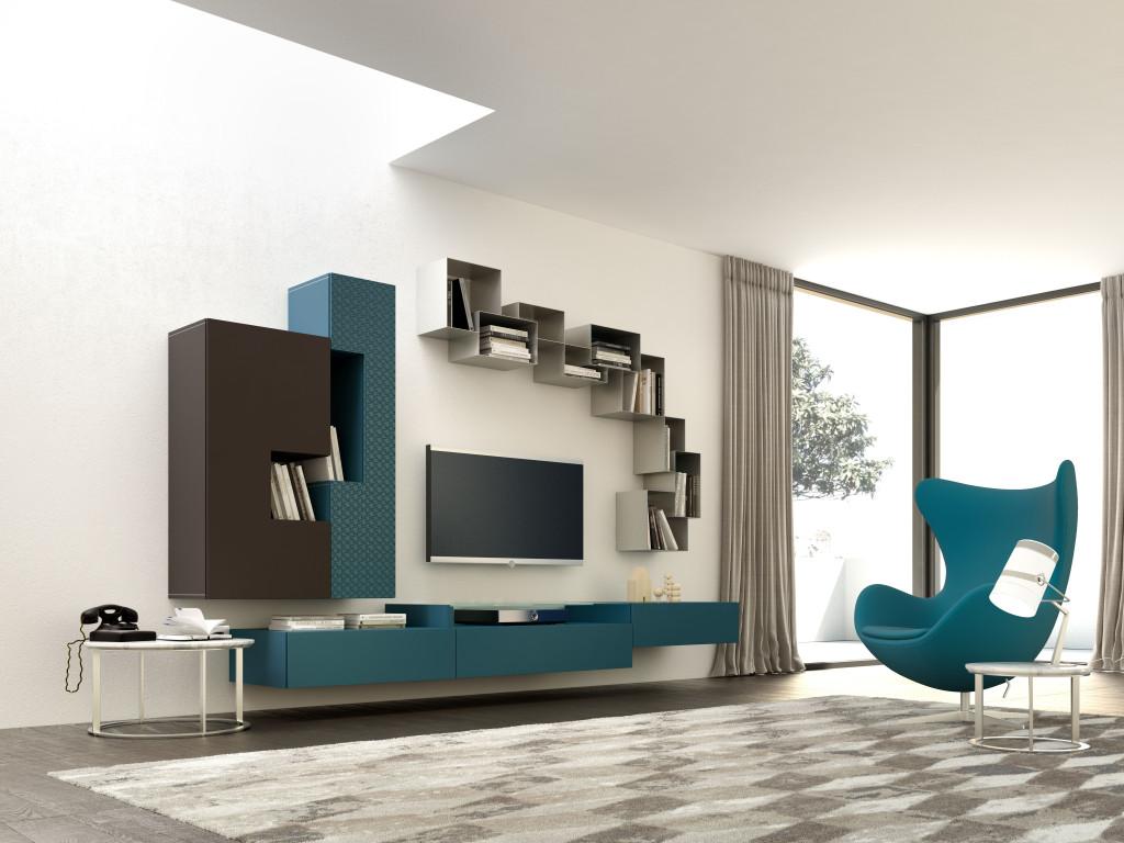 Parete attrezzata soggiorno moderna for Parete salotto