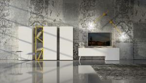 mobile moderno porta tv bianco opaco