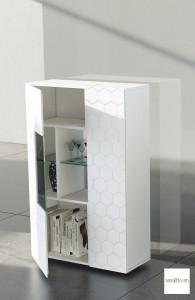 madia credenza moderna verticale con vetrina