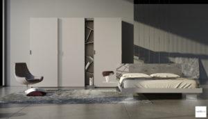 camera da letto moderna grigio chiaro