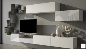 parete attrezzata design bianca