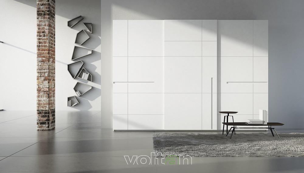 armadio moderno bianco con ante scorrevoli