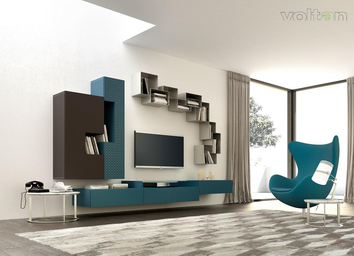 parete attrezzata moderna blu