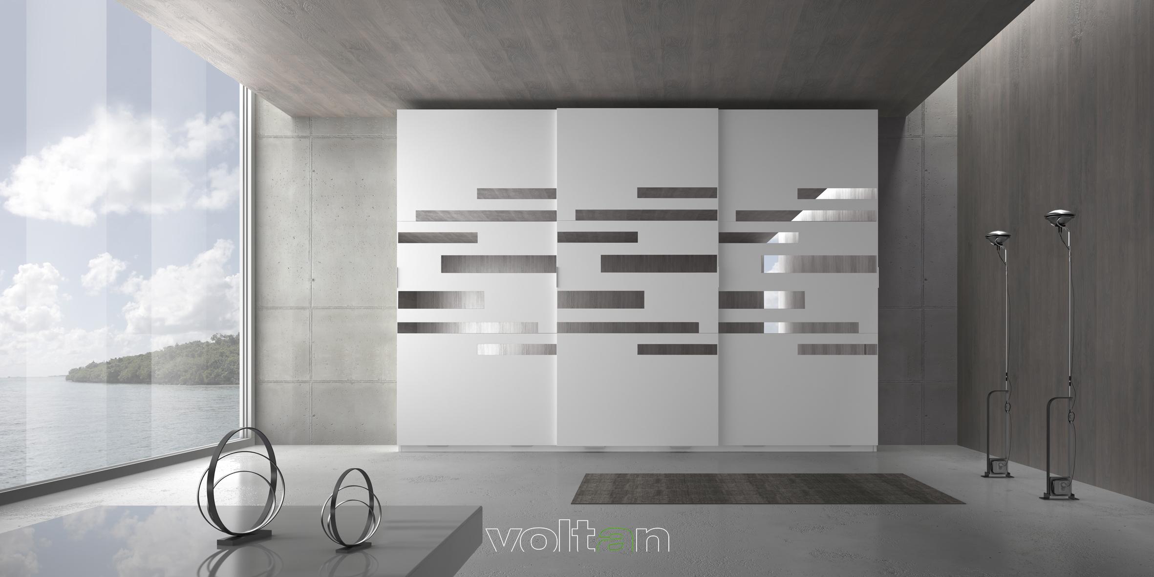 armadio moderno bianco con specchi