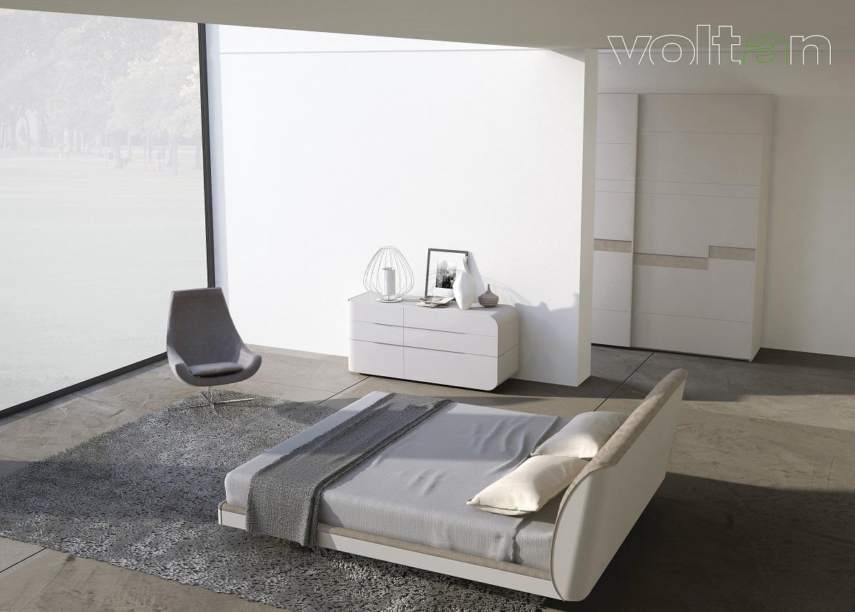 camera da letto grigia e beige