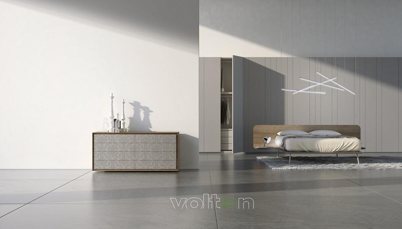 camera letto moderna grigia scura