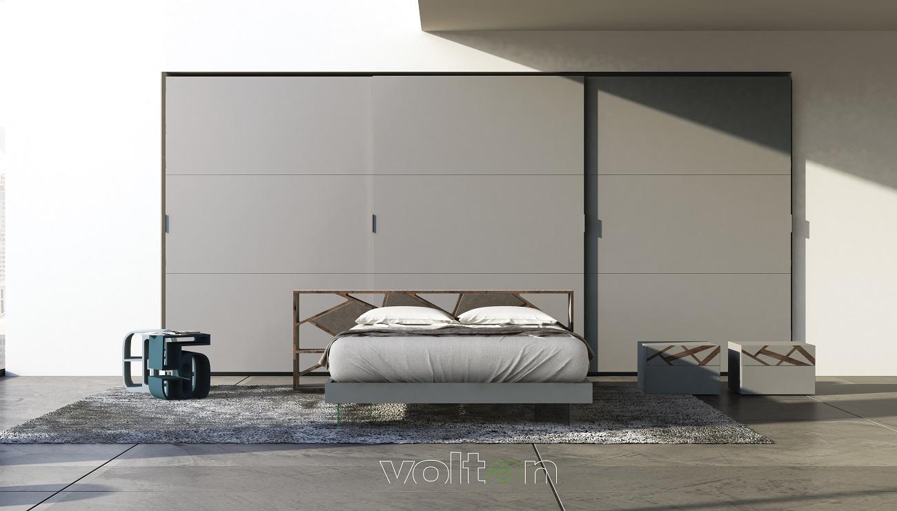 camera letto moderna grigia