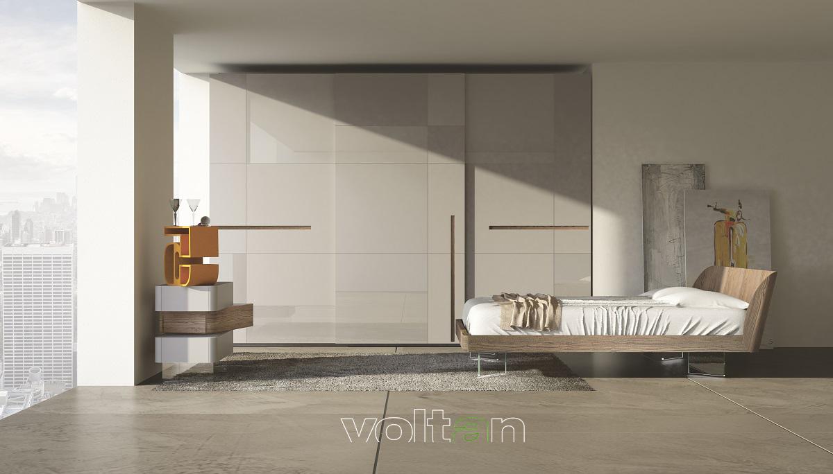 Camera da letto moderna bianca e grigia