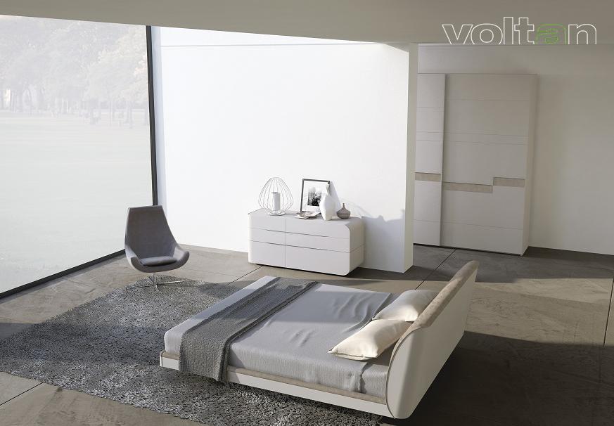 camere da letto grigie e bianche