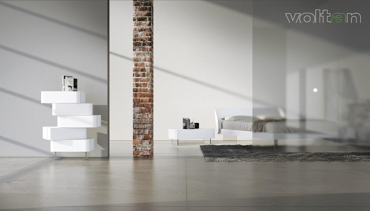camere da letto moderne bianche e grigie