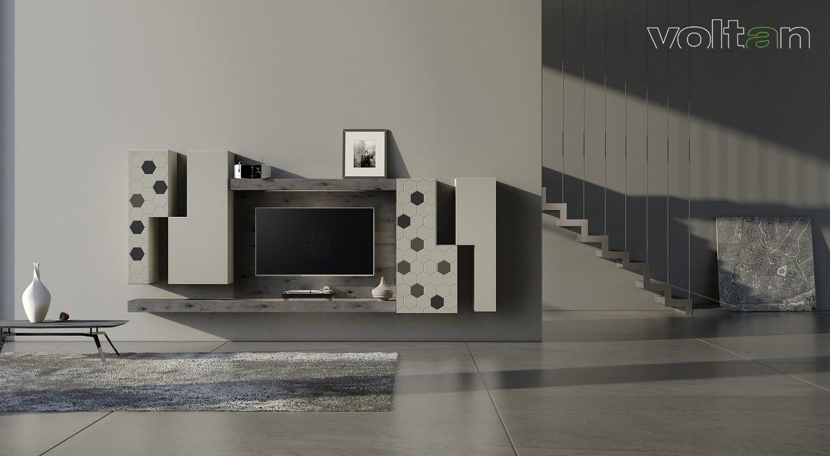 porta TV da parete in legno