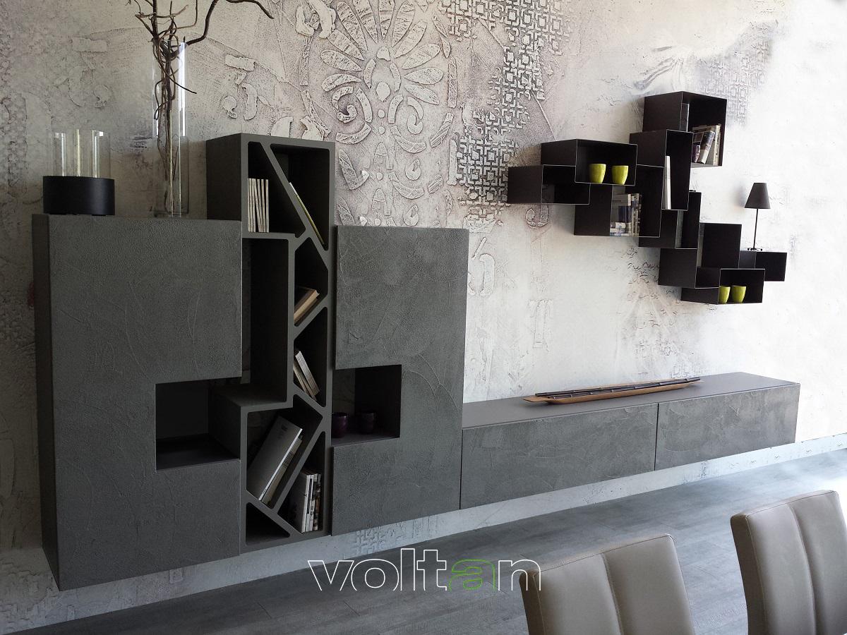 pareti attrezzate stile industriale