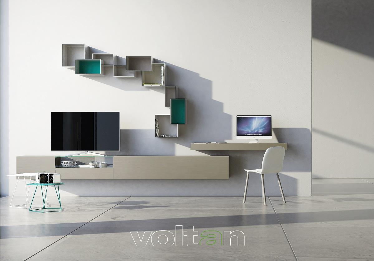 parete attrezzata con scrivania incorporata